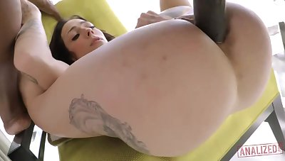 Standoffish milky brown-haired with giant, hard jugs, Harlow Harrison had assfuck fuck-a-thon with a dark-hued wretch