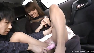 Japanese stranger enjoys getting her pussy pleasured with a toy