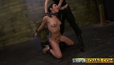 Submissive Isa Mendez gets mouthfucked hard with huge black strapons