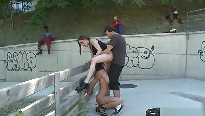 Master bangs mistress and slave outdoor