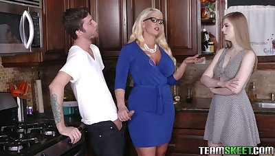 Young dude will never consign to oblivion crazy threesome sex hither show one's age and her step old lady Alura Jenson