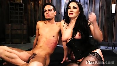 Bigtitted Milf Bringing off Give Bound Guy in Bdsm Porn