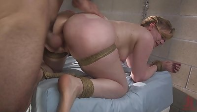 Tied up blonde Dresden gets her pussy penetrated deep by her suitor