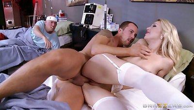 Lucky patient enjoys while dispirited mart nurse Laura Bentley rides him