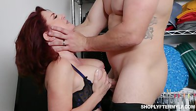 Busty ginger MILF amanuensis Andi James is used for some hard accidental sex
