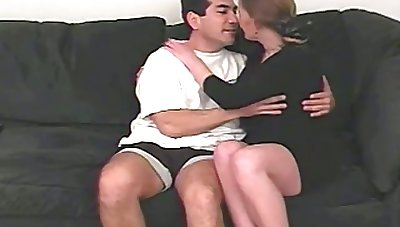 Lewd mature lady flashes her big saggy boobies and starts wanking dick