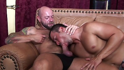 Handsome gay jocks delve into rimming added to rough anal boning