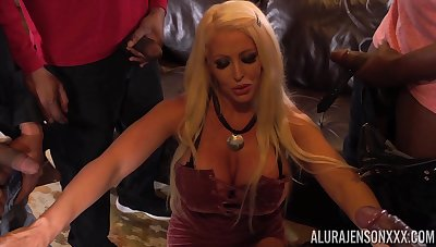 Giant breasted blonde MILF Alura Jenson lets several black studs dear one her