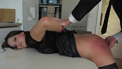 Rough bondage sex excites submissive Barbara Bieber approvingly