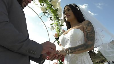 Transsexual bride Eva Maxi is making love with her groom