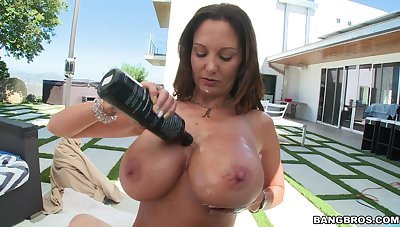 MILF Ava Addams lubes up her big juggs be fitting of POV titty occupation
