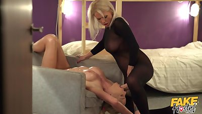Passionate tribade coitus with a strapon - Kathy Anderson & Isabella Deltore
