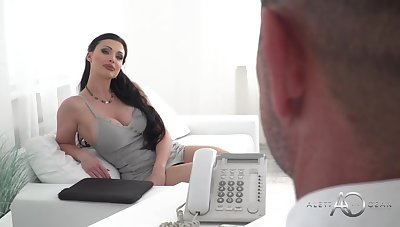 Buxomy dark haired is having hard-core lovemaking with 1 of her customers, after providing him a deep blowage