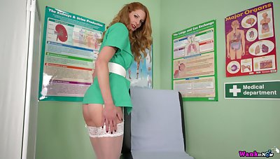 Luscious nurse in sexy uniform Leah shows off her yummy and sex-starved pussy